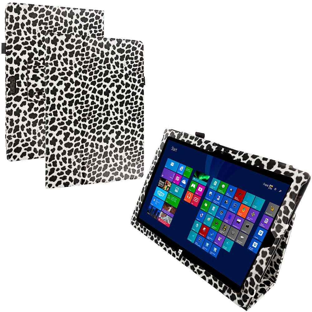 Microsoft Surface Pro 3 Design Leopard Black White Folio Pouch Flip Case Cover Stand