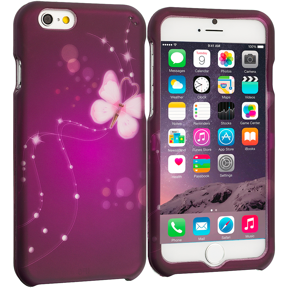 Apple iPhone 6 6S (4.7) Dream Butterfly 2D Hard Rubberized Design Case Cover