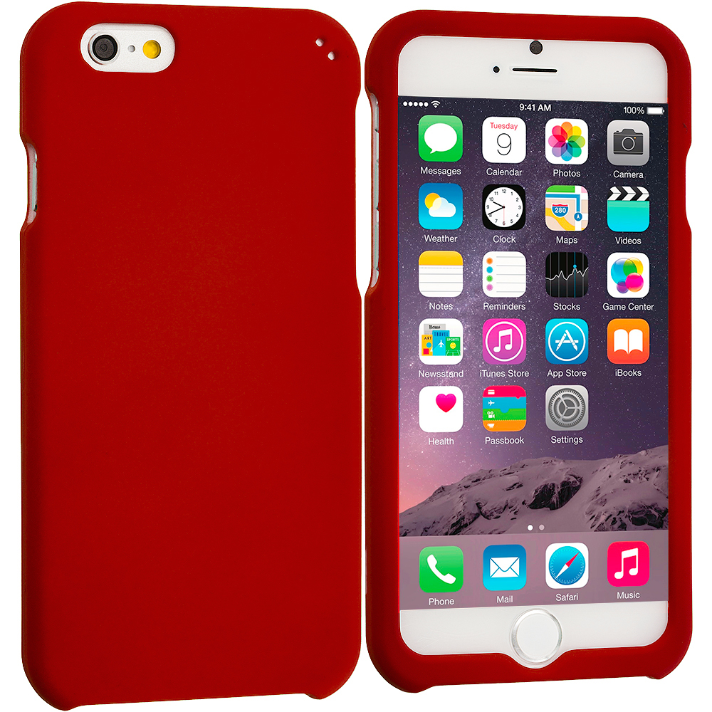 Apple iPhone 6 Plus 6S Plus (5.5) Red Hard Rubberized Case Cover