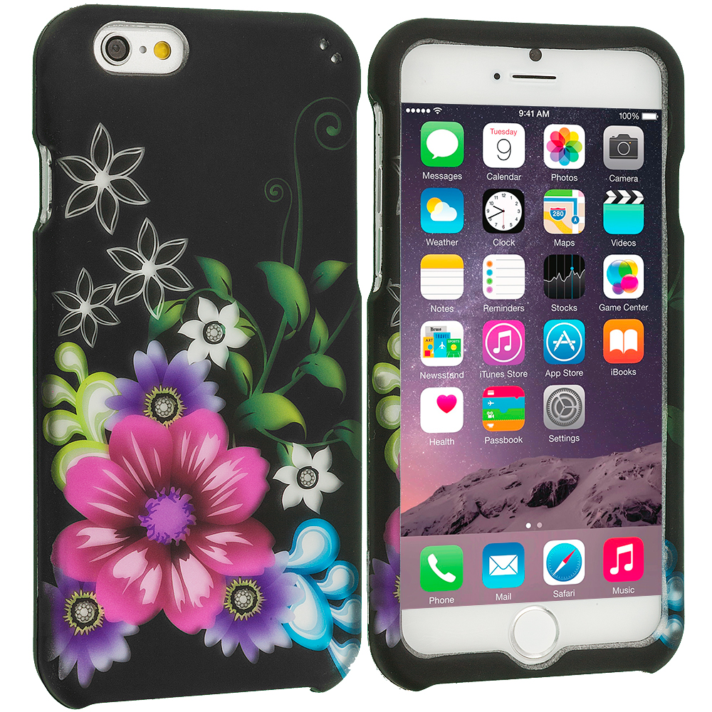 Apple iPhone 6 6S (4.7) Flowers on Black 2D Hard Rubberized Design Case Cover