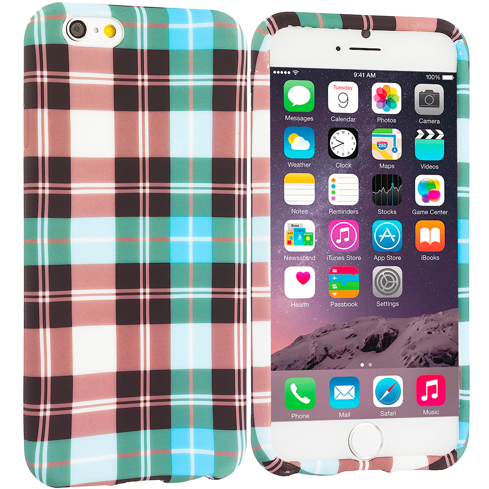 Apple iPhone 6 Plus 6S Plus (5.5) Blue Checkered TPU Design Soft Rubber Case Cover