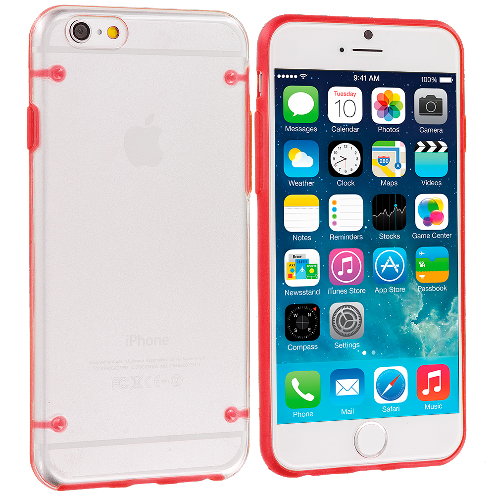 Apple iPhone 6 Plus 6S Plus (5.5) 8 in 1 Combo Bundle Pack - Crystal Robot Hard Case Cover : Color Red