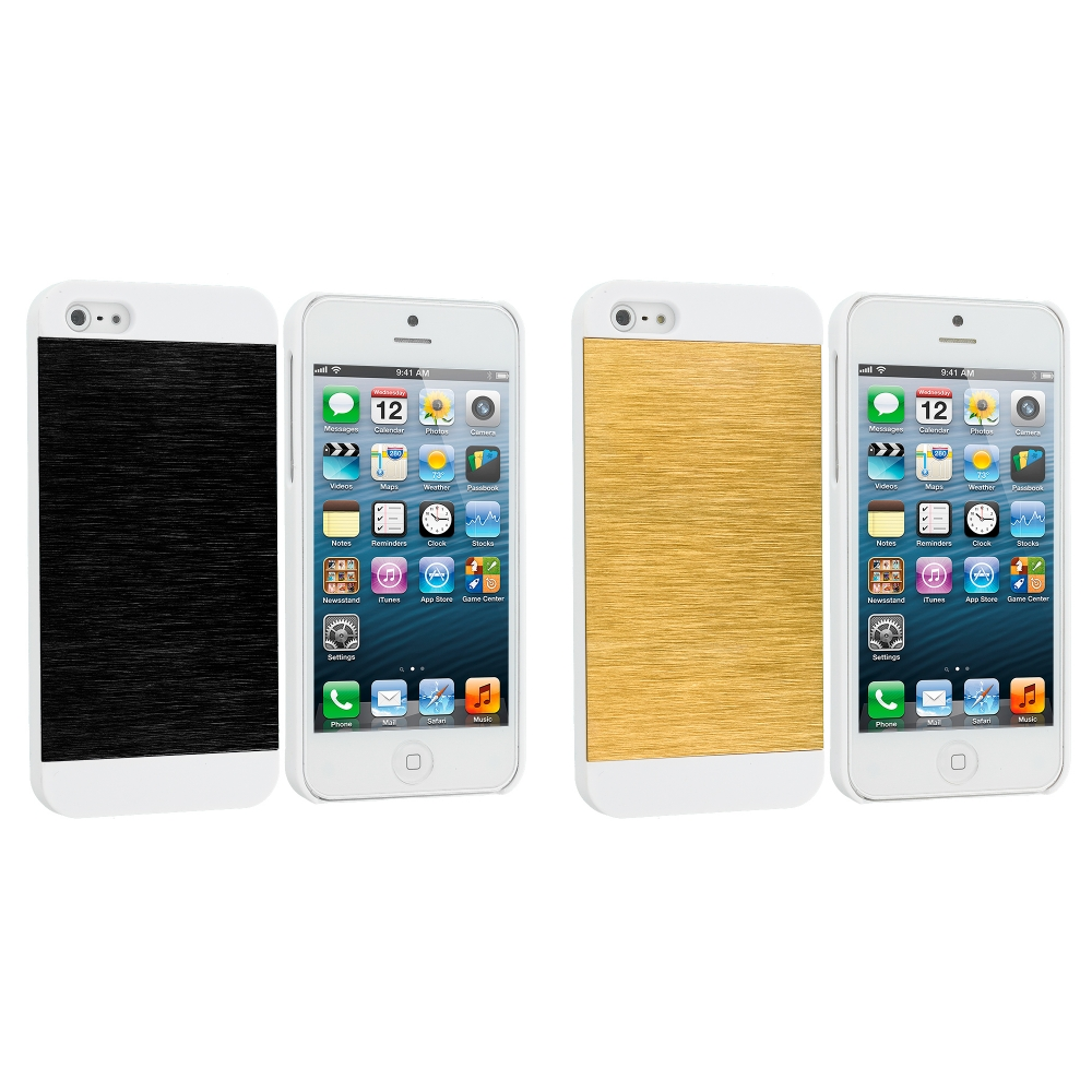 Apple iPhone 5/5S/SE Combo Pack : Black / White Hybrid Luxury Aluminum Hard Case Cover