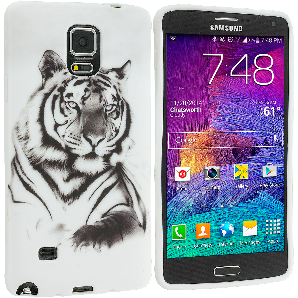 Samsung Galaxy Note 4 White Tiger TPU Design Soft Rubber Case Cover