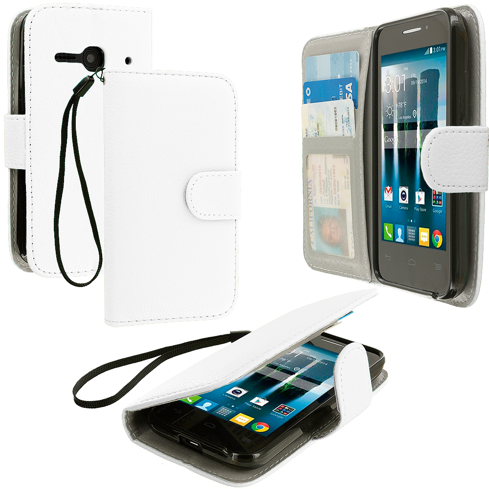 Alcatel One Touch Evolve 2 White Leather Wallet Pouch Case Cover with Slots