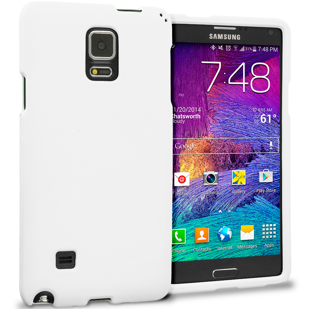 Samsung Galaxy Note 4 White Hard Rubberized Case Cover