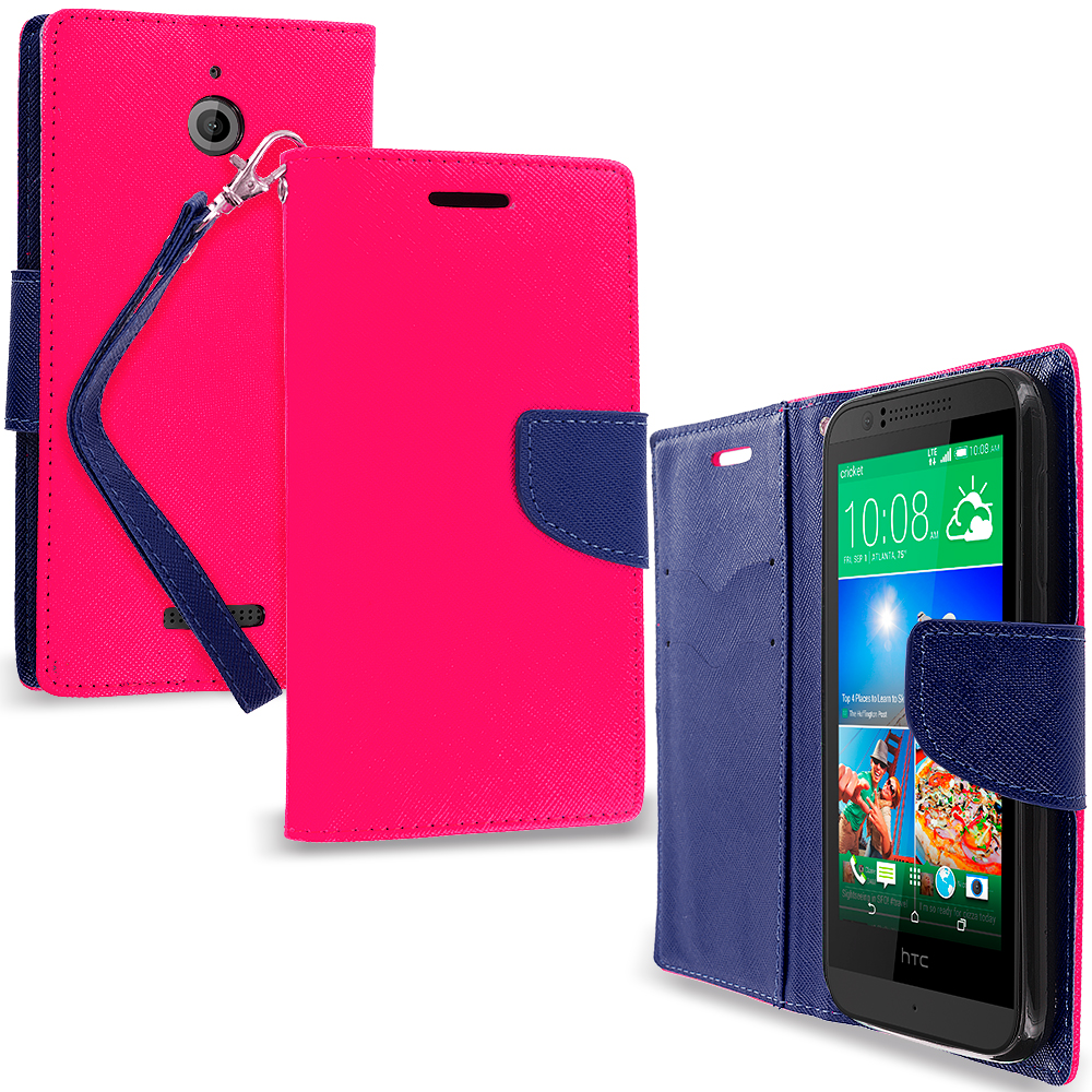 HTC Desire 510 512 Hot Pink / Navy Blue Leather Flip Wallet Pouch TPU Case Cover with ID Card Slots