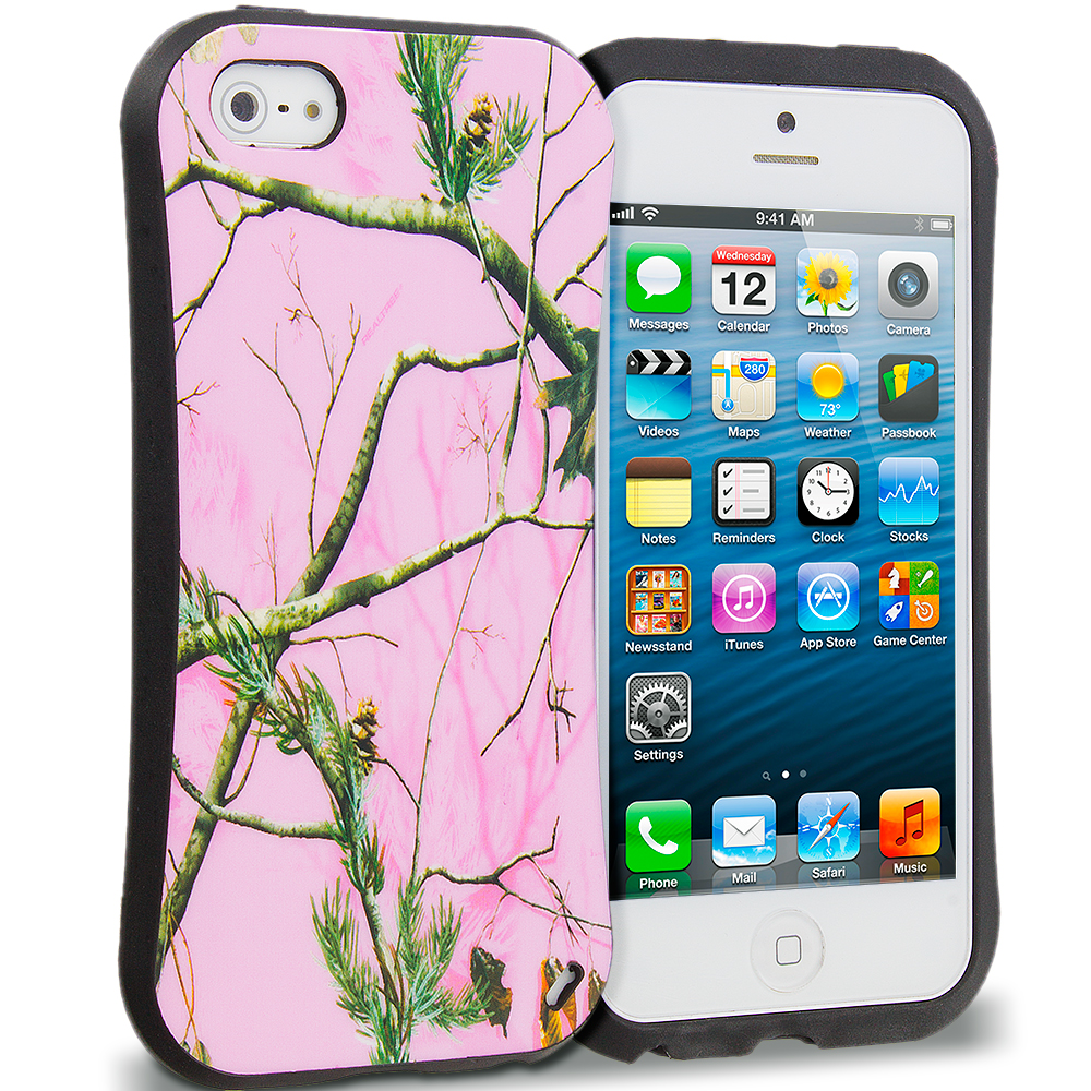 Apple iPhone 5/5S/SE Combo Pack : Gray Tree Hybrid TPU Hard Soft Shockproof Drop Proof Case Cover : Color Hot pink Tree