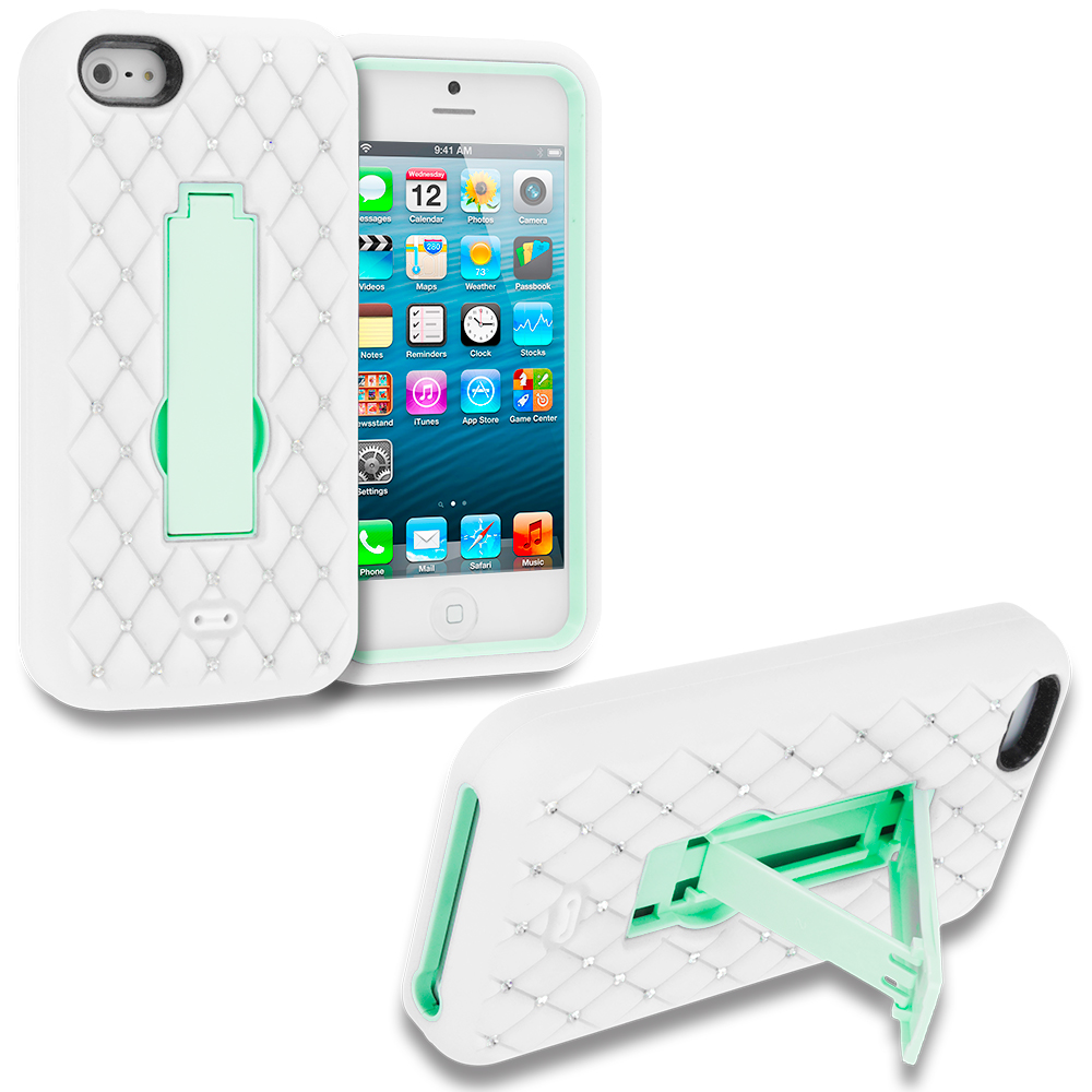 Apple iPhone 5/5S/SE Combo Pack : Hot Pink / White Hybrid Diamond Bling Hard Soft Case Cover with Kickstand : Color White / Mint Green