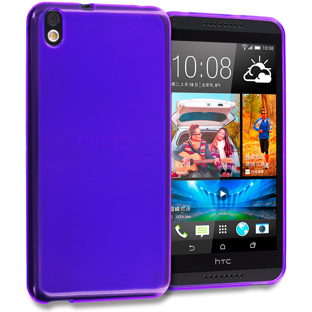 HTC Desire 816 Purple TPU Rubber Skin Case Cover