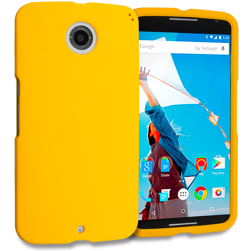 Motorola Google Nexus 6 Yellow Hard Rubberized Case Cover