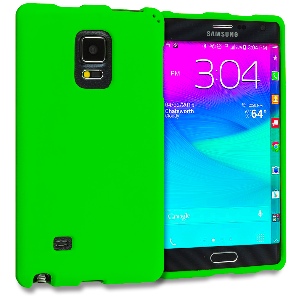 Samsung Galaxy Note Edge Neon Green Hard Rubberized Case Cover