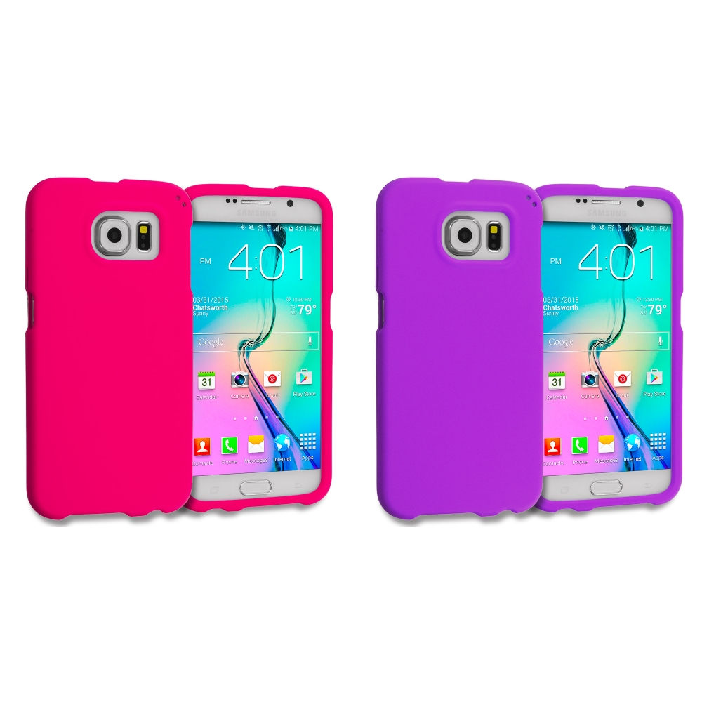 Samsung Galaxy S6 Combo Pack : Hot Pink Hard Rubberized Case Cover