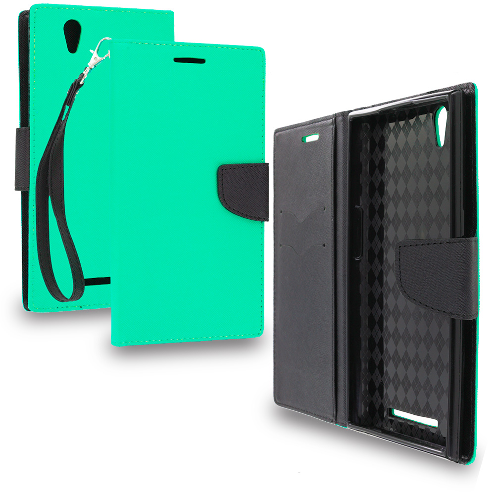 ZTE Zmax Mint Green / Black Leather Flip Wallet Pouch TPU Case Cover with ID Card Slots