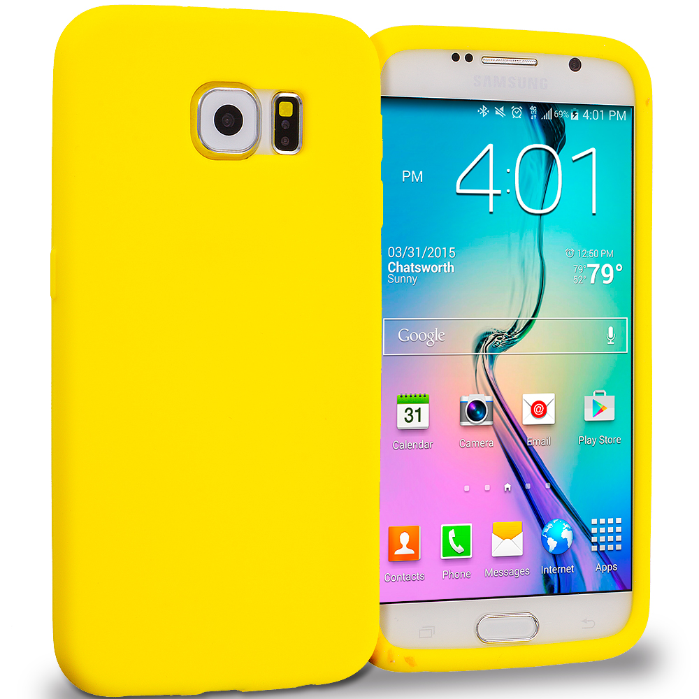 Samsung Galaxy S6 4 in 1 Combo Bundle Pack - Silicone Soft Skin Rubber Case Cover : Color Yellow
