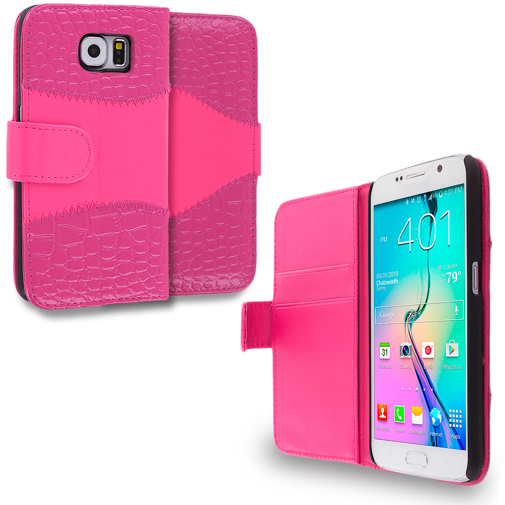 Samsung Galaxy S6 2 in 1 Combo Bundle Pack - Crocodile Leather Wallet Pouch Case Cover with Slots : Color Hot Pink Crocodile