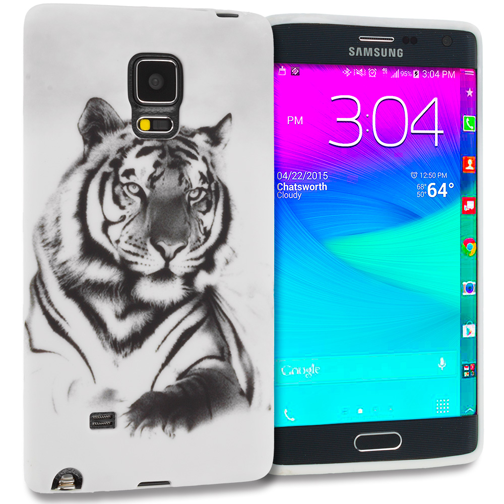 Samsung Galaxy Note Edge White Tiger TPU Design Soft Rubber Case Cover