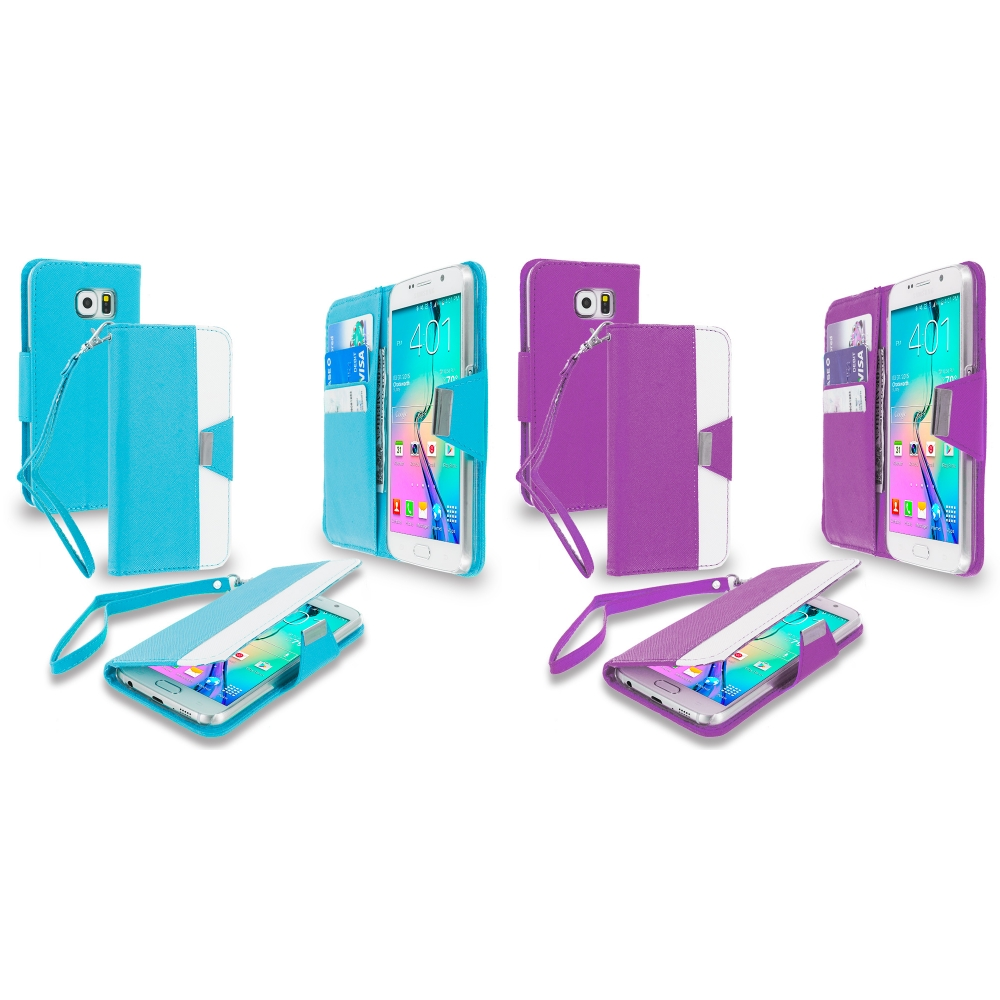 Samsung Galaxy S6 Combo Pack : Baby Blue Wallet Magnetic Metal Flap Case Cover With Card Slots