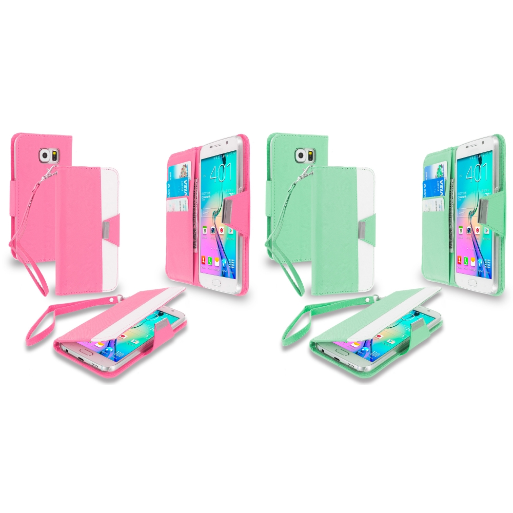 Samsung Galaxy S6 Combo Pack : Light Pink Wallet Magnetic Metal Flap Case Cover With Card Slots