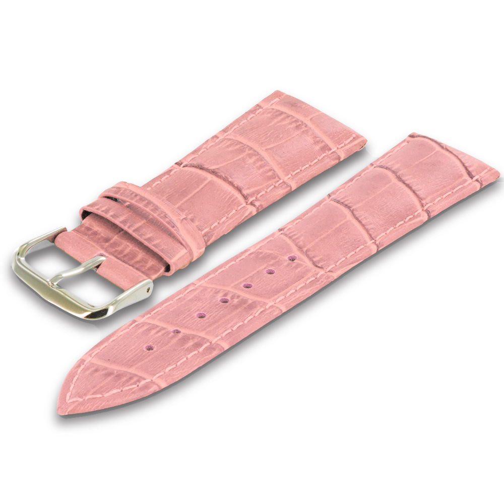 Apple Watch 38mm Pink Crocodile Leather Premium Buckle Watch Band Strap