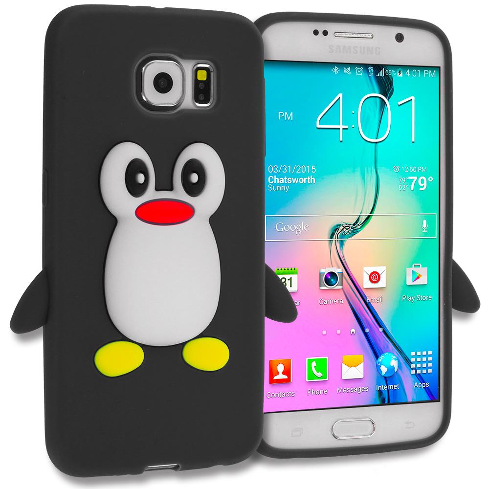 Samsung Galaxy S6 Black Penguin Silicone Design Soft Skin Case Cover