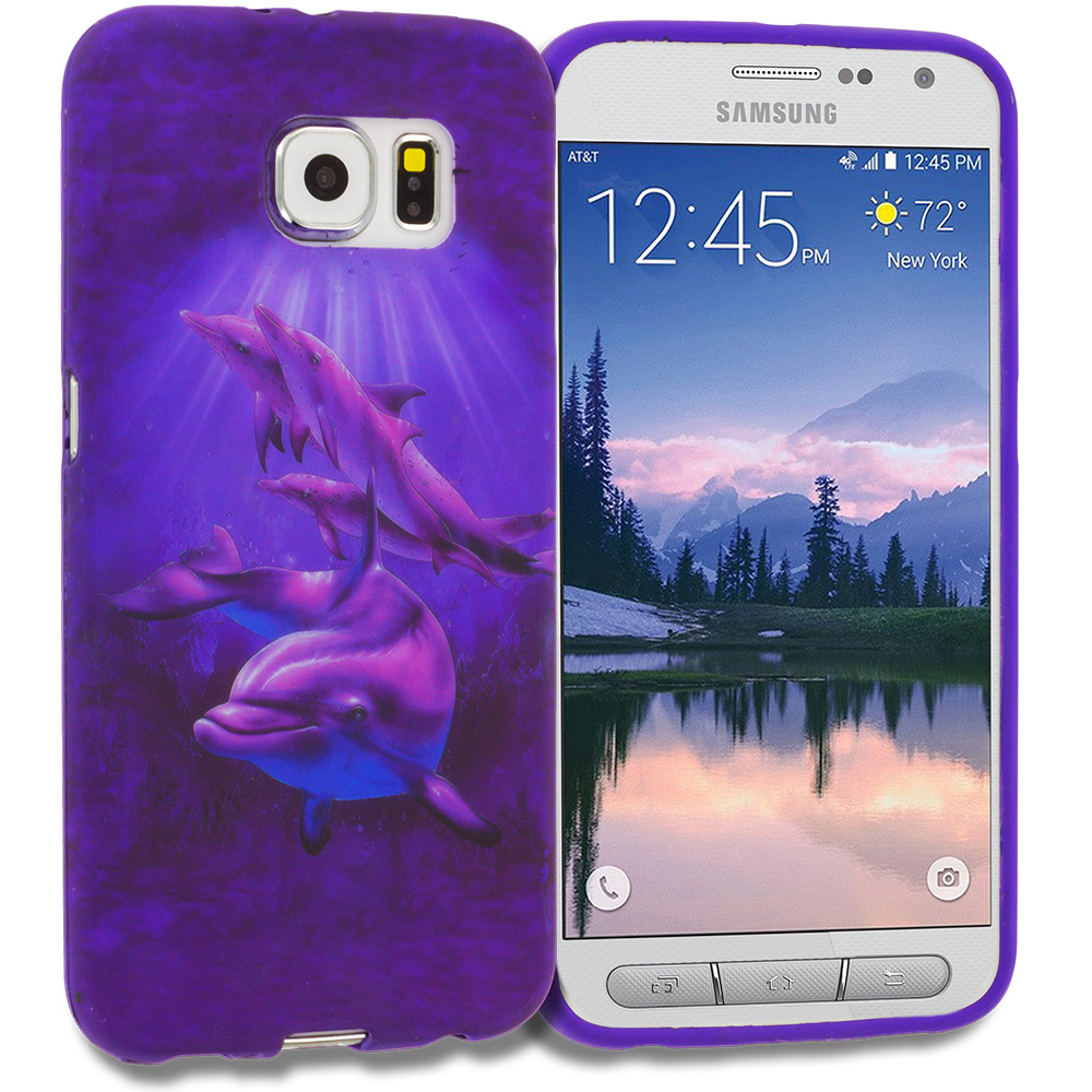 Samsung Galaxy S6 Active Purple Dolphin TPU Design Soft Rubber Case Cover