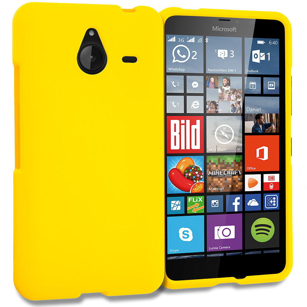 Microsoft Lumia 640 XL Yellow Hard Rubberized Case Cover