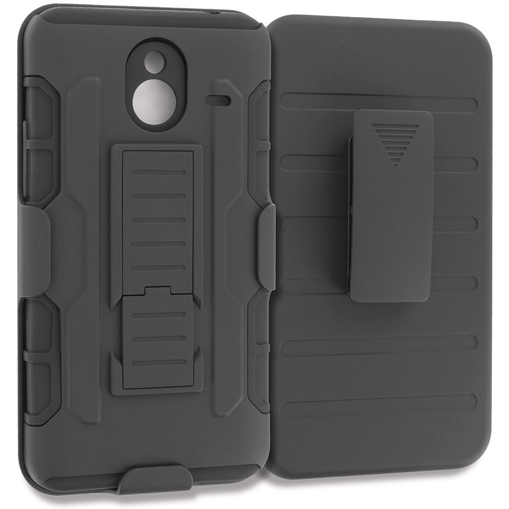 Microsoft Lumia 640 XL Black Hybrid Rugged Robot Armor Heavy Duty Case Cover with Belt Clip Holster