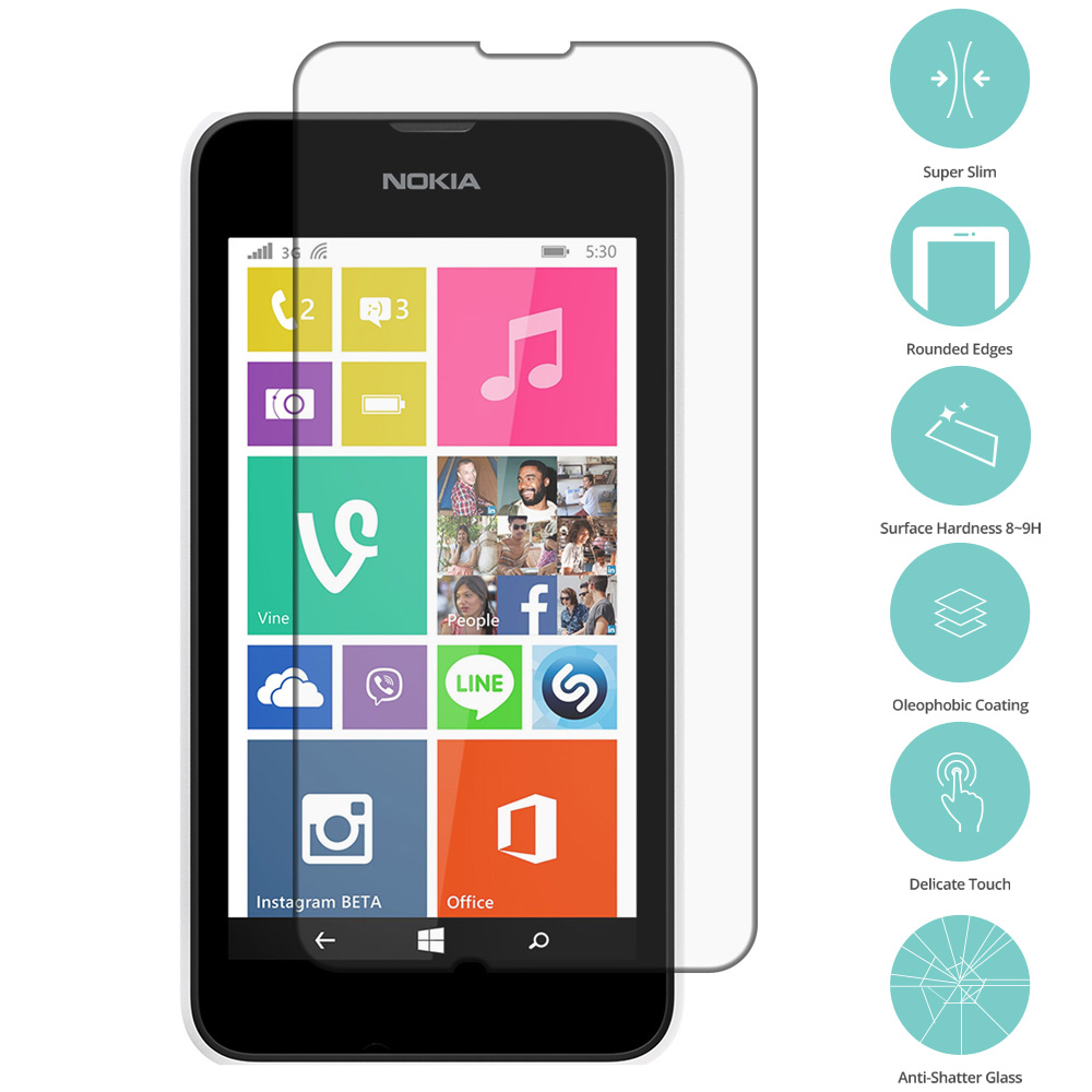 Nokia Lumia 530 Clear Tempered Glass Film Screen Protector Clear