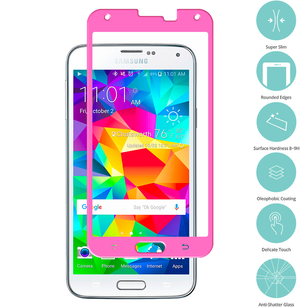 Samsung Galaxy S5 Hot Pink Tempered Glass Film Screen Protector Colored