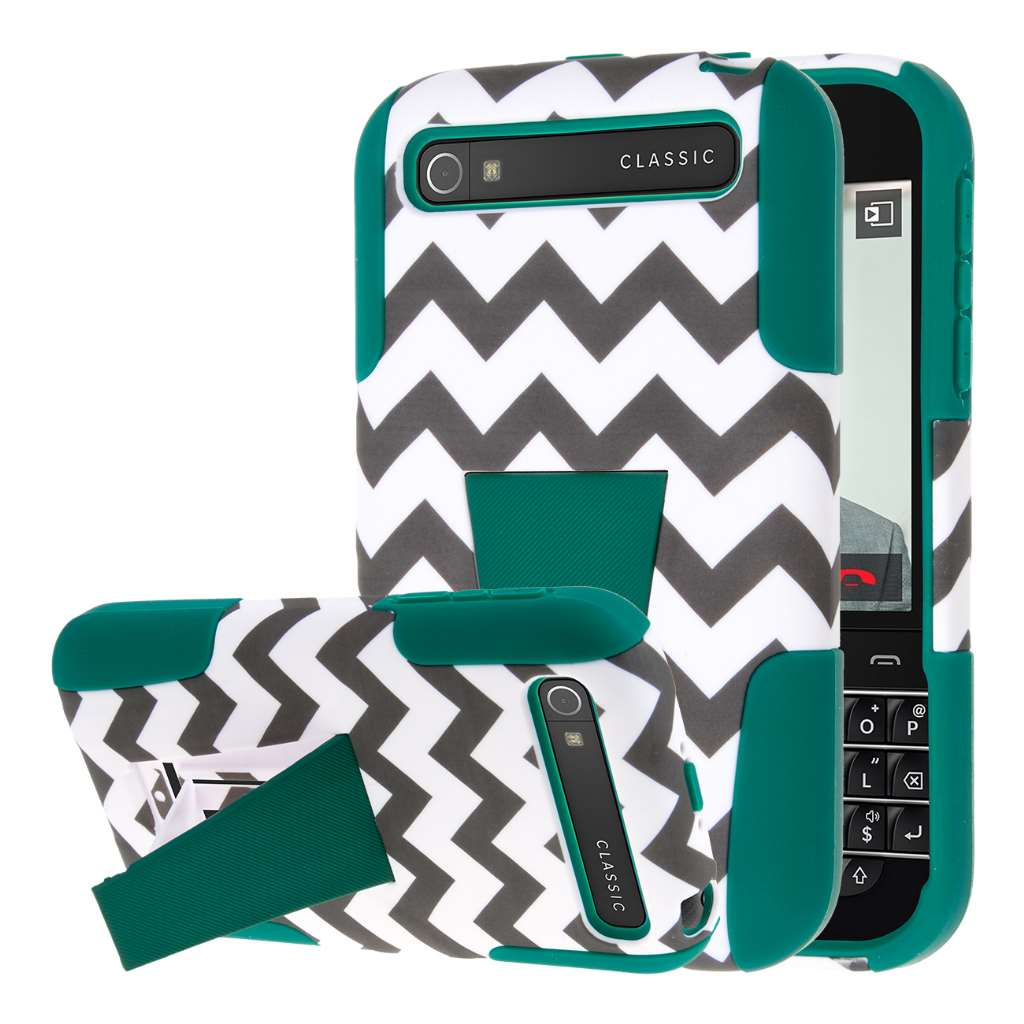 BlackBerry Classic - Teal Chevron MPERO IMPACT X - Kickstand Case Cover