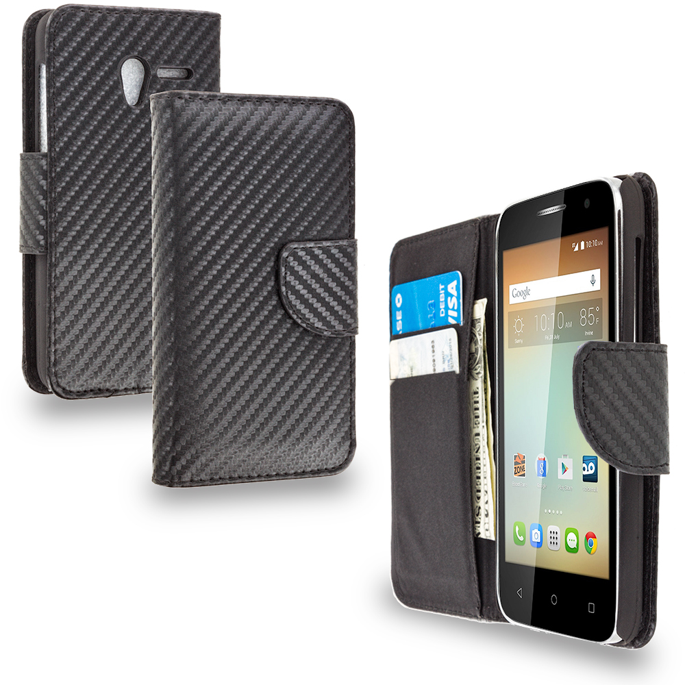 Alcatel One Touch Elevate Carbon Fiber Leather Wallet Pouch Case Cover with Slots