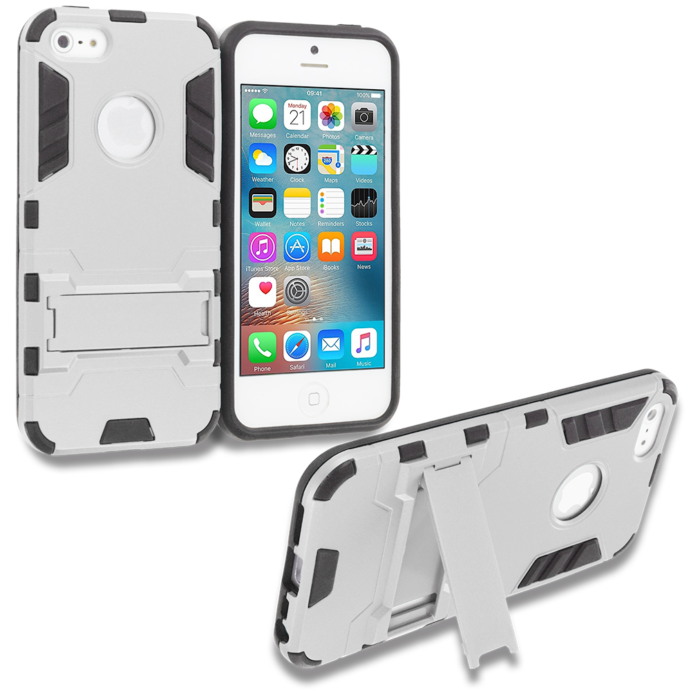 Apple iPhone 5/5S/SE White Hybrid Transformer Armor Slim Shockproof Case Cover Kickstand