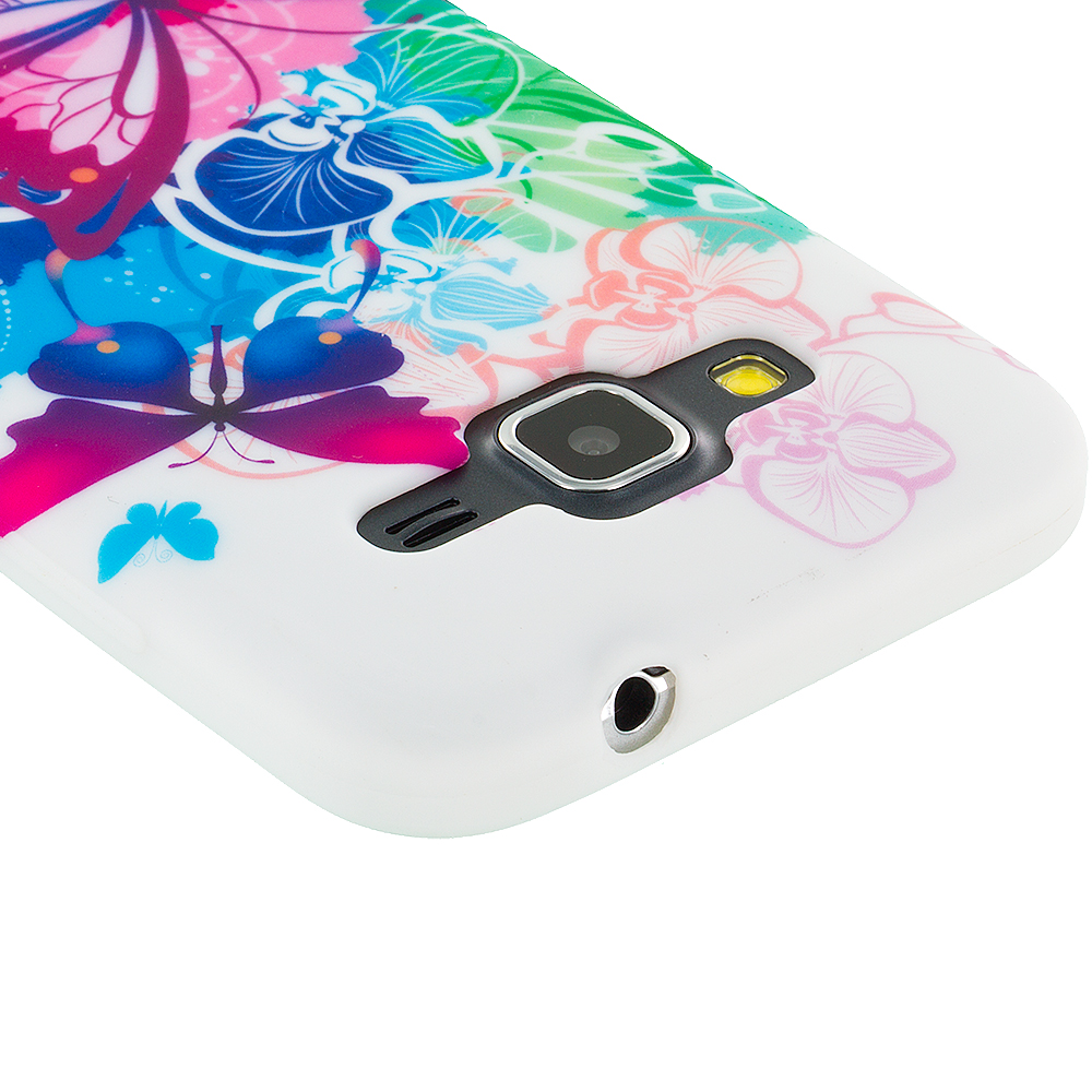Samsung Galaxy Prevail LTE Core Prime G360P Butterfly Colorful TPU Design Soft Rubber Case Cover