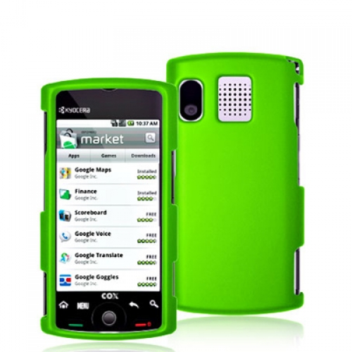 Sanyo Kyocera Zio M6000 Neon Green Hard Rubberized Case Cover