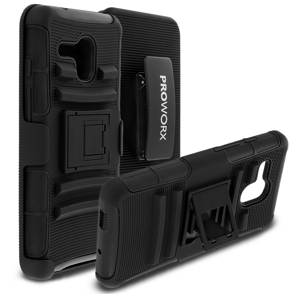 Alcatel OneTouch Fierce XL ProWorx Black Heavy Duty Shock Absorption Armor Defender Case Cover With Belt Clip Holster