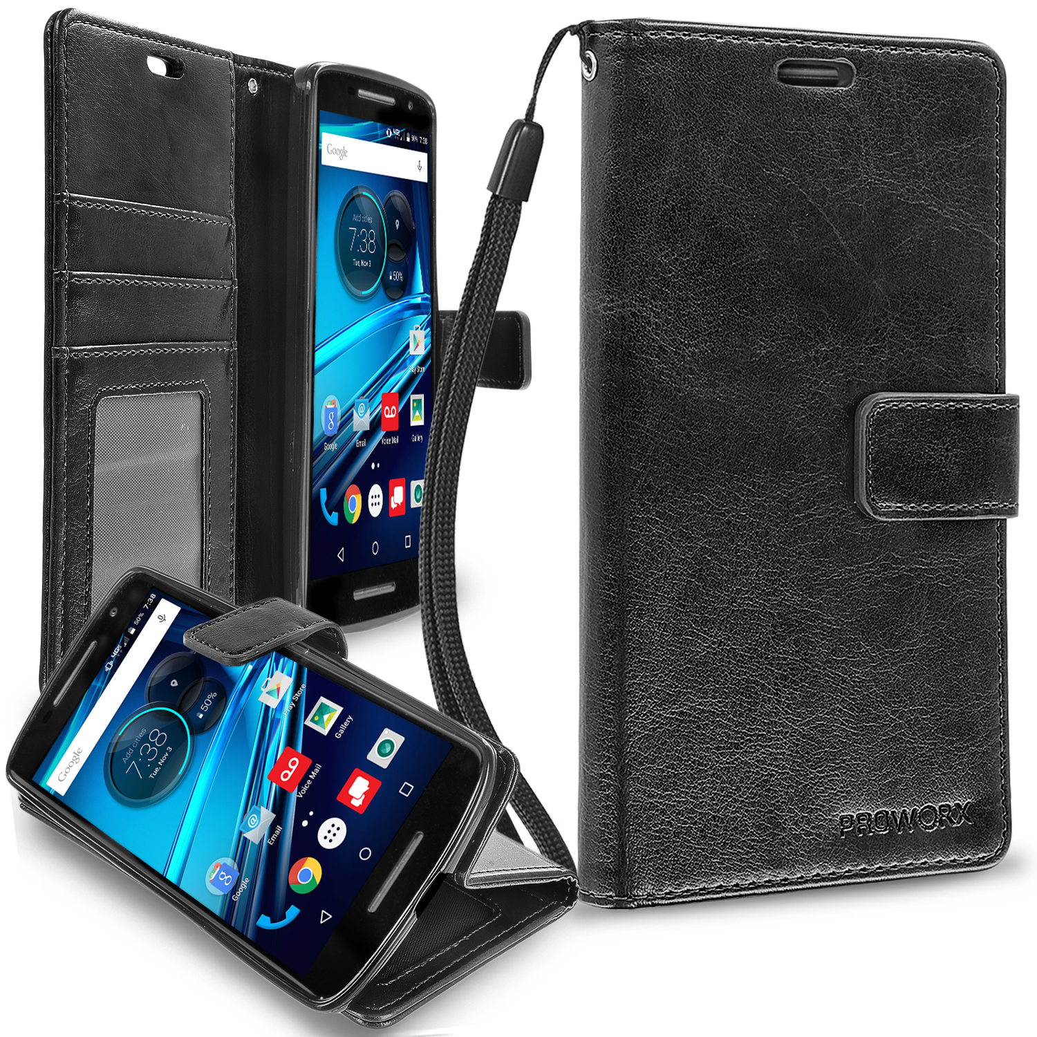 Motorola Droid Maxx 2 XT1565 Black ProWorx Wallet Case Luxury PU Leather Case Cover With Card Slots & Stand