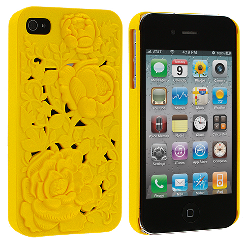 Apple iPhone 4 Yellow 3D Rose Hard Rubberized Back Cover Case