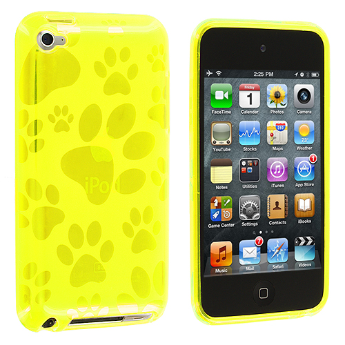 Apple iPod Touch 4th Generation Yellow Dog Paw TPU Rubber Skin Case Cover
