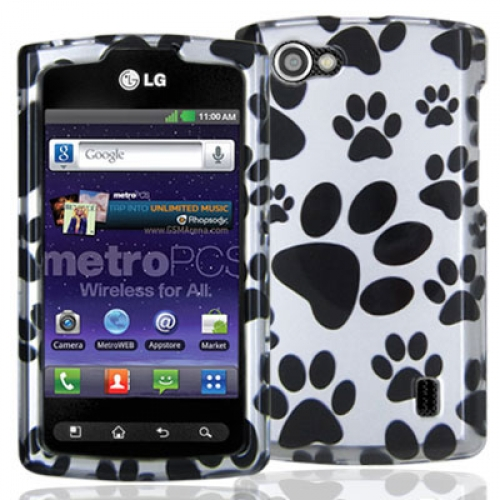 LG Optimus M+ MS695 Dog Paw Design Crystal Hard Case Cover