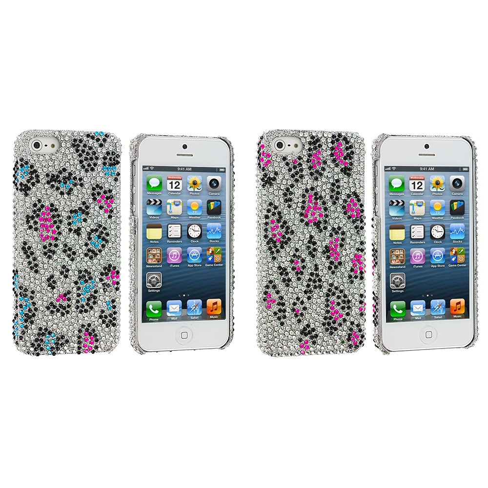 Apple iPhone 5/5S/SE 2 in 1 Combo Bundle Pack - Colorful Leopard Bling Rhinestone Case Cover