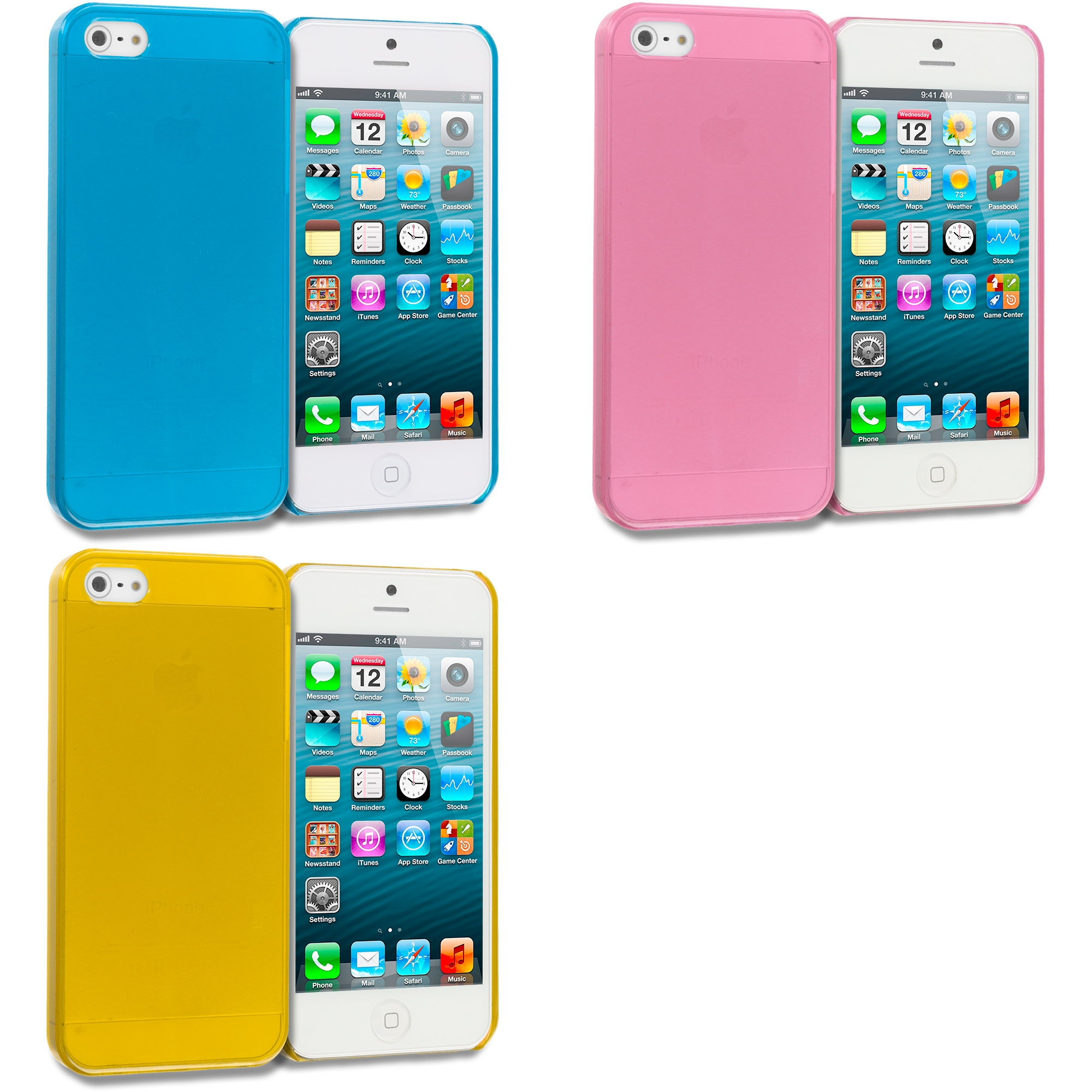 Apple iPhone 5/5S/SE Combo Pack : Baby Blue Crystal Hard Back Cover Case