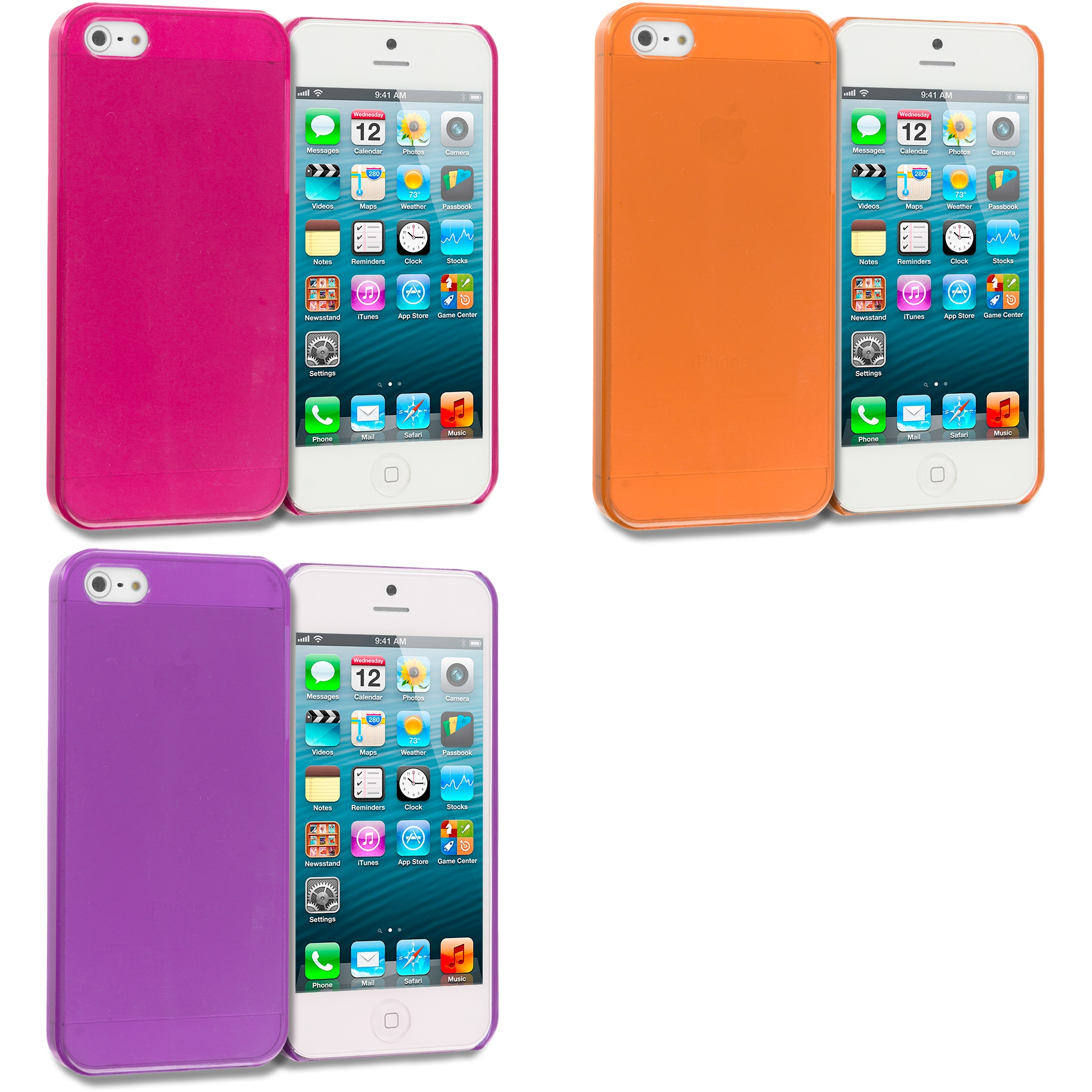 Apple iPhone 5/5S/SE Combo Pack : Hot Pink Crystal Hard Back Cover Case