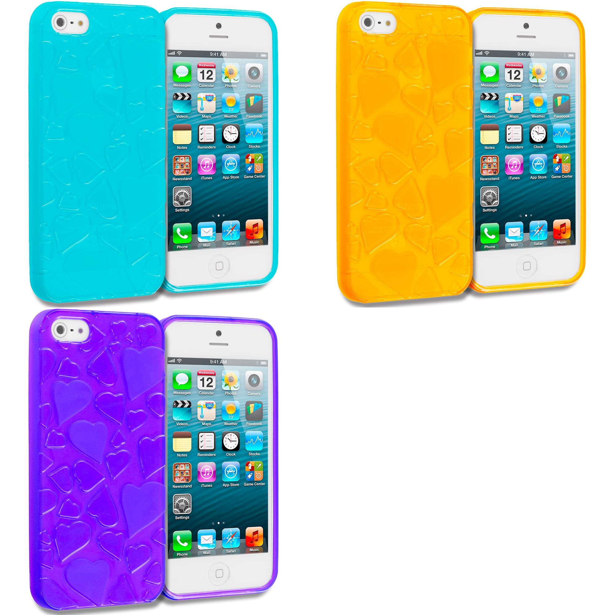 Apple iPhone 5/5S/SE Combo Pack : Blue Hearts TPU Rubber Skin Case Cover