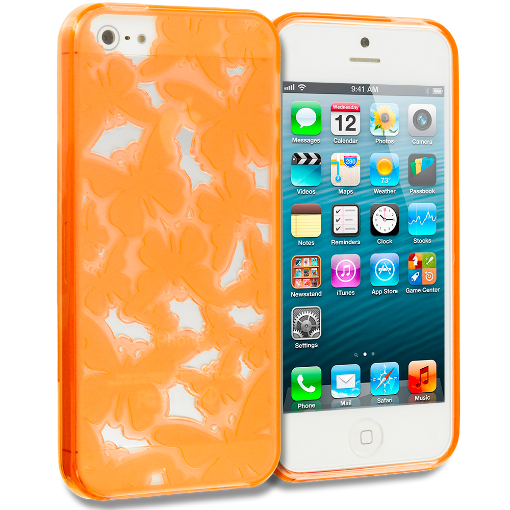 Apple iPhone 5/5S/SE Combo Pack : Orange Butterfly Cutout TPU Rubber Skin Case Cover : Color Orange Butterfly Cutout