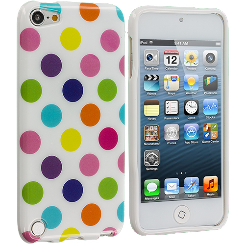 Apple iPod Touch 5th Generation 5G 5 White / Colorful TPU Polka Dot Skin Case Cover