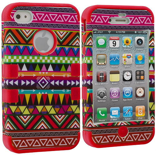 Apple iPhone 4 Red Tribal Hybrid Tuff Hard/Soft 3-Piece Case Cover