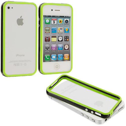 Apple iPhone 4 / 4S Green / Black TPU Bumper with Metal Buttons