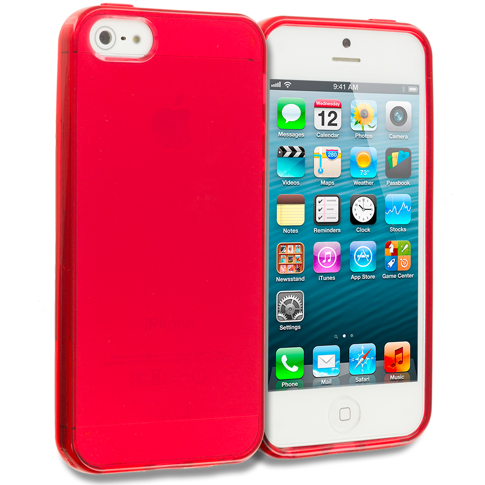 Apple iPhone 5/5S/SE Red Plain TPU Rubber Skin Case Cover
