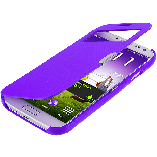 Samsung Galaxy S4 Purple Smooth (Open) Magnetic Wallet Case Cover Pouch